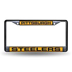 Laser-Engraved Black License Plate-Pittsburgh Steelers