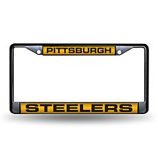 Laser-Engraved Black License Plate-Pittsburgh Steelers