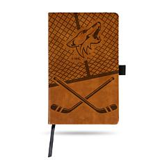 Laser-Engraved Brown Notepad with Elastic Band - Coyotes