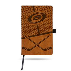 Laser-Engraved Brown Notepad with Elastic Band - Hurricanes