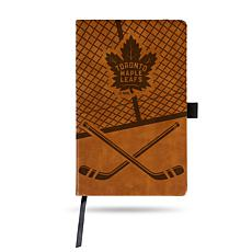 Laser-Engraved Brown Notepad with Elastic Band - Maple Leafs