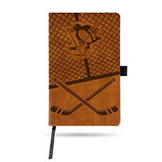 Laser-Engraved Brown Notepad with Elastic Band - Penguins