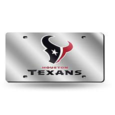Laser-Engraved Silver License Plate - Houston Texans