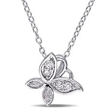"Laura Ashley 0.12ctw Butterfly-Design 19-3/4"" Necklace"
