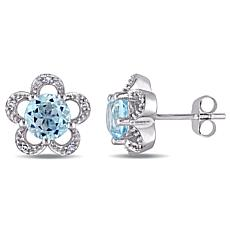 Laura Ashley Blue Topaz and White Diamond 10K Earrings