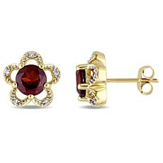 Laura Ashley Garnet and White Diamond 10K Earrings