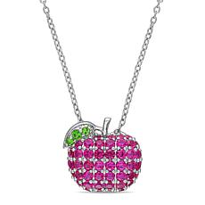 Laura Ashley Sterling Silver Created Ruby & Tsavorite Apple Necklace