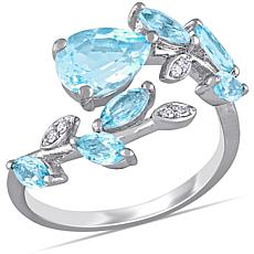 Laura Ashley Sterling Silver Sky Blue Topaz and Diamond Bypass Ring