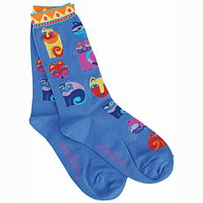 Laurel Burch Socks - Feline Festival -Blue