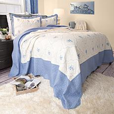 Lavish Home 2-piece Brianna Embroidered  Quilt Set - Tw