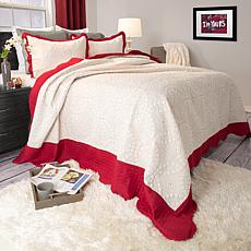 Lavish Home 2-piece Lydia Embroidered Quilt Set - Twin
