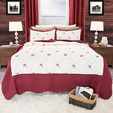 Lavish Home 3-piece Chloe Embroidered Quilt Set - King