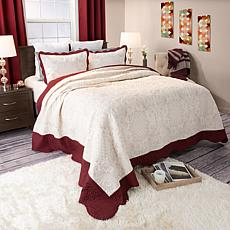 Lavish Home 3-piece Juliette Embroidered Quilt Set - Fu