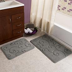 Lavish Home Coral Fleece Memory Foam Bath Mat 2pc Set