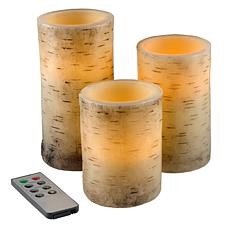 Lavish Home Flickering Flameless LED Candles with Birch Bark- Set of 3