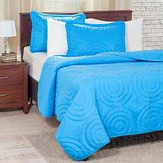 Lavish Home Solid Embossed 3-piece Quilt Set - King