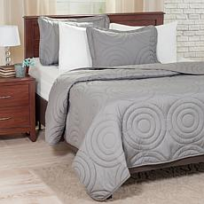 Lavish Home Solid Embossed 3-piece Quilt Set - King
