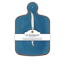 Le Cadeaux Antiqua Cheese Board and Knife Set - Blue