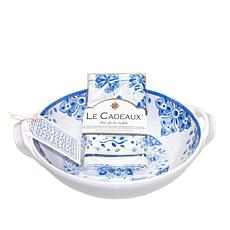 Le Cadeaux Moroccan Blue Two-Handle Bowl and Tea Towel Set