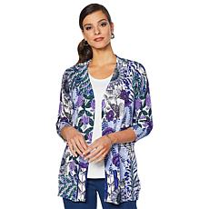 Lemon Way 3/4-Sleeve Printed Cardigan