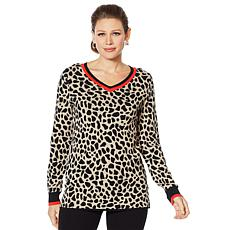 Lemon Way Animal Print Varsity Sweater