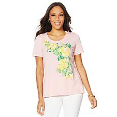 Lemon Way Beaded Floral Print Tee