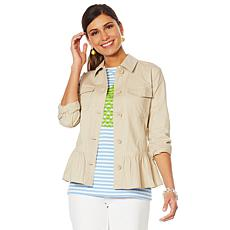 Lemon Way Long-Sleeve Peplum Utility Jacket