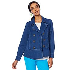 Lemon Way Wonder Stretch Knit Denim Peplum Jacket