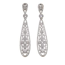 Leslie Greene 0.76ctw CZ Scroll Teardrop Sterling Silver Earrings