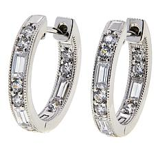 Leslie Greene 1.08ctw Cubic Zirconia Mixed Cut Hugger Hoop Earrings