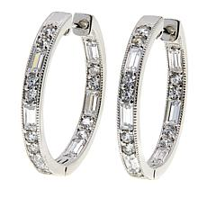 Leslie Greene 1.86ctw Cubic Zirconia Mixed Cut Hugger Hoop Earrings