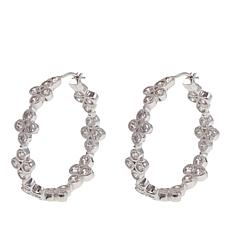 "Leslie Greene 1.92ctw Cubic Zirconia ""Addison"" Sterling Silver Hoops"