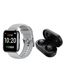 Letsfit IW1 Black Smartwatch with T20 Earbuds