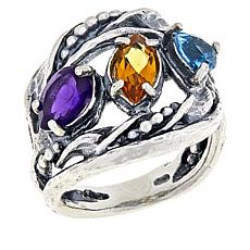 Li Paz Sterling Silver 1.45ctw Multigemstone Textured Ring