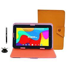 "LINSAY 7"" 2GB RAM 32GB Storage Android 10 Tablet Bundle - Brown"