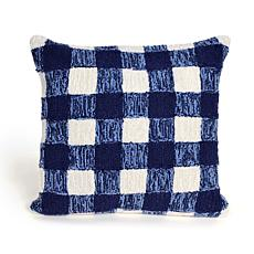 "Liora Manne Frontporch Gingham 18"" Pillow - Blue"