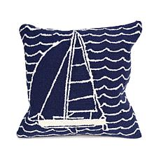 "Liora Manne Frontporch Sails 18"" Square Pillow - Navy"