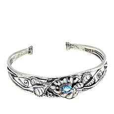 LiPaz 0.6ct Blue Topaz Leaf Motif Sterling Silver Cuff Bracelet