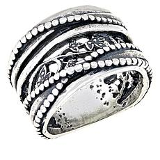 LiPaz Floral Crossover Sterling Silver Band Ring