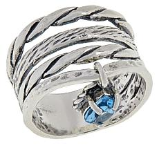 LiPaz Sterling Silver Blue Topaz Charm Ring