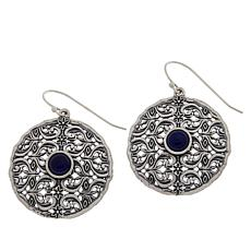 LiPaz Sterling Silver Lapis Circle Drop Earrings