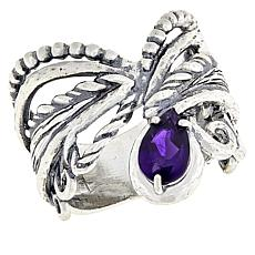 LiPaz Sterling Silver Multi-Texture 0.8ct Amethyst Ring