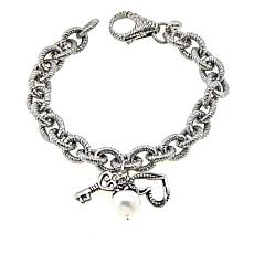 LiPaz Textured Oval Link Sterling Silver Bracelet with Charms