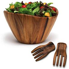 Lipper International Acacia Wave Bowl with Salad Hands