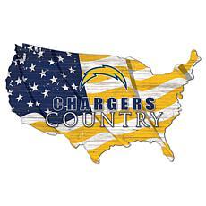 Los Angeles Chargers USA Shape Flag Cutout