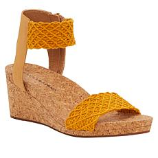 Lucky Brand Kierony Crocheted Fabric Wedge Sandal