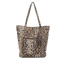 Lucky Eddo Snake-Print Leather Tote