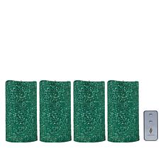 "Luminara 7"" Moving Flame Glitter Candle - 4-pack"