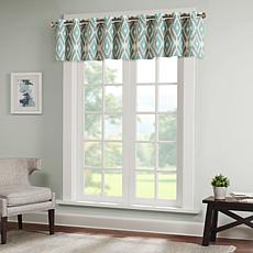 Madison Park Ashlin Diamond-Print Valance - Aqua - 50 x 18""