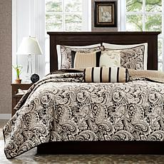 Madison Park Aubrey Black 6pc Quilted Coverlet Set F/Q